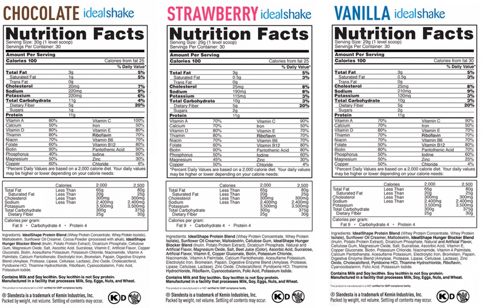 ideal shape nutrition facts